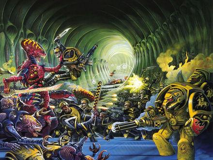 Обои Битва людей и роботов против монстров
