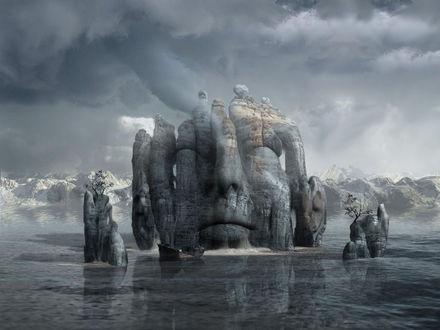 Обои Посреди озера скала с человеческим лицом