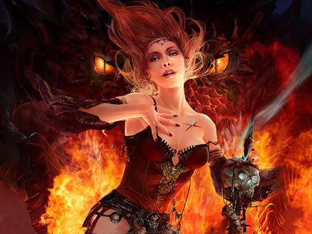 Обои Красотка в корсете с посохом и черепом, сзади глаза огнедышащего дракона