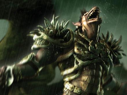 Обои Монстр в доспехах под дождем