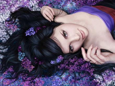 Обои Девушка отдыхает на подстилке из цветов