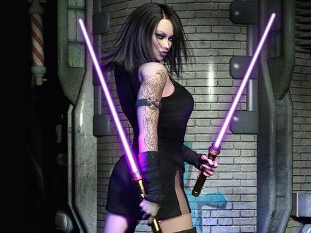 Обои Девушка с джедайскими мечами в руках