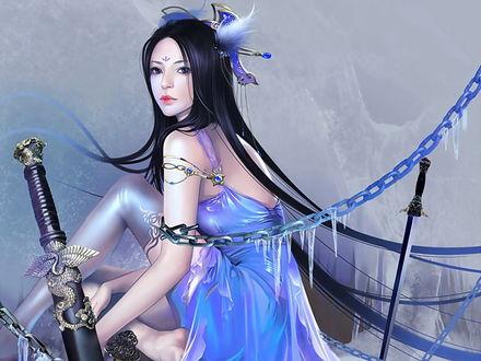Обои Девушка в красивом голубом платье прикована замерзшими цепями