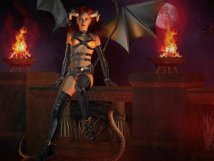 Обои Полуголая рогатая демонесса, одетая в черный латекс