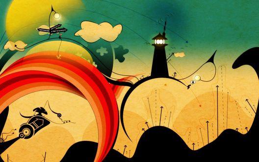 Обои Абстрактный сказочный мир, огромный маяк и стрелки