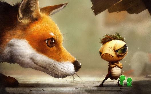 Обои лиса с любопытством смотрит на злое насекомое и его детишек
