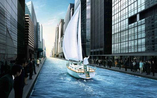 Обои В городе вместо дороги - река, по которой плывет яхта