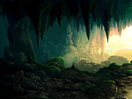 Обои Скалистая пещера, стая летучих мышей, в углу на камне печальный туземец