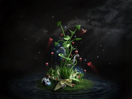 Обои Ребенок в своем сказочном мире, островок с растениями и птицами