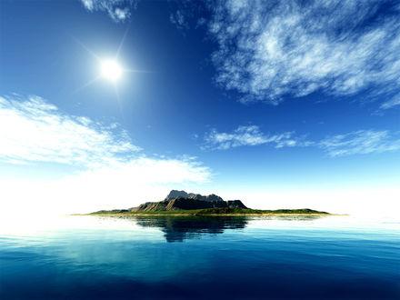 Обои Одинокий остров посреди чистого синего моря