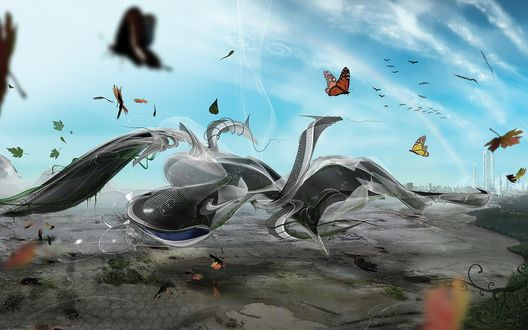 Обои Бабочки летают над абстрактной фигурой, выше, в небе-птицы, вдали виднеется город