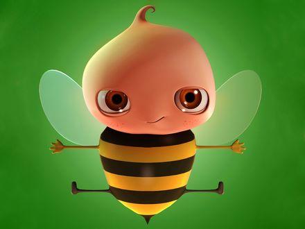Обои Потешная пчёлка, мёда не даёт, но куснуть может..