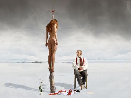 Обои Обнаженная рыжая девушка с петлей на шее и старик в снегах (На основе работы Максима Сауки)