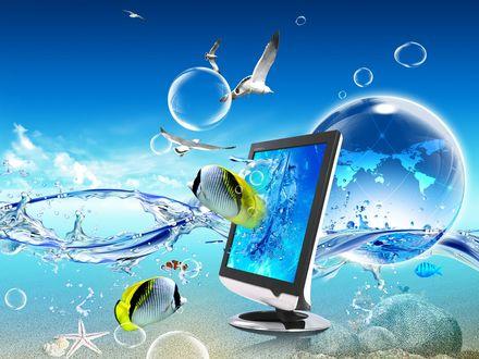 Обои На грани реальности: рыбы выпригивают из монитора, а за ними выливается морская вода, в небе кружат чайки