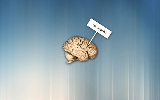 Обои Креативный Мозг с табличкой be creativ!