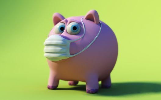 Обои На тему свиного гриппа-свинья в маске