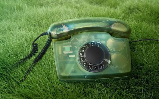 Обои Зеленый старый прозрачный телефон на траве
