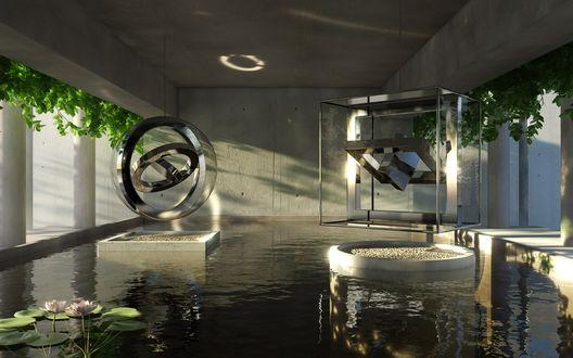 Обои Геометрические фигуры в стекле порят в воздухе над искусственным прудом