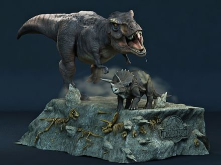 Обои Jurassic Park Монумент с динозаврами, останки