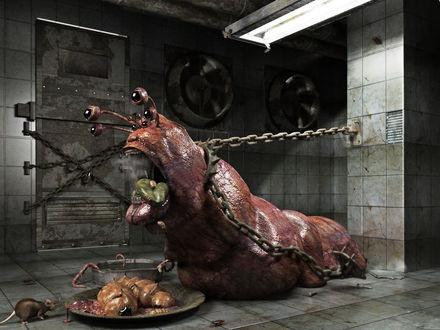 Обои Слизень на цепи в подвале, пытается освободиться, наверное не доволен едой