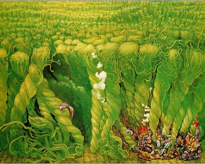 Обои Малекий народец с трудом пробирается сквозь высокую траву-тут и огнедышащие драконы, и рыцари, и короли, и монахи, и колдуны, да кого тут только нет..