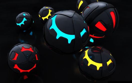 Обои Цветные светящиеся шарики