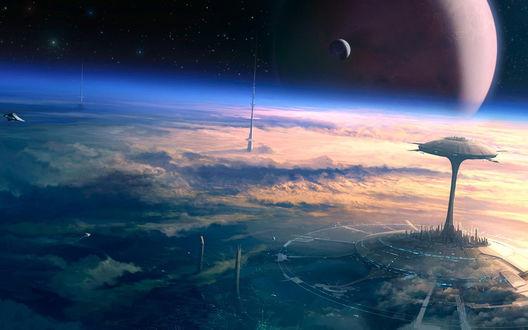Обои Город будущего на другой планете с высоты птичьего полета, башни выше облаков