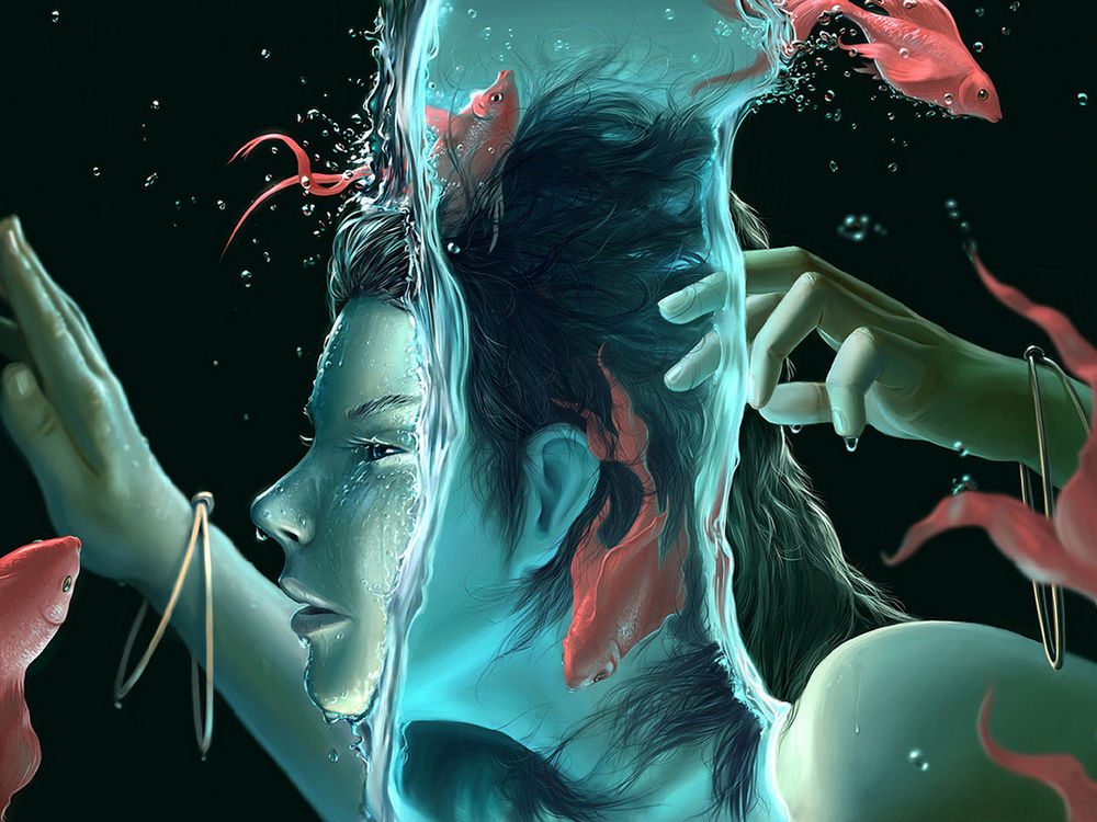 Обои для рабочего стола девушка окунулась лицом в воду, вокруг плавают красные рыбки