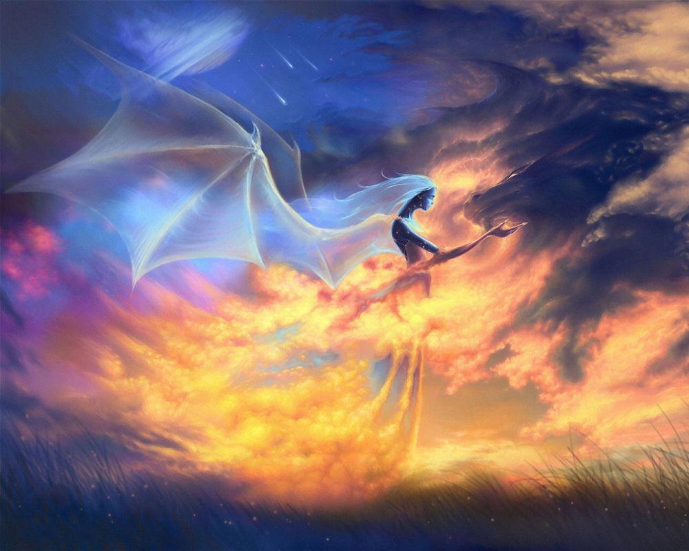 Обои для рабочего стола Призрак девушки с драконьими крыльями гладит огненного дракона