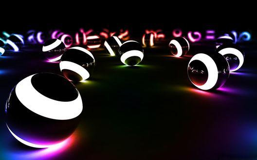 Обои светящиеся неоновые шарики