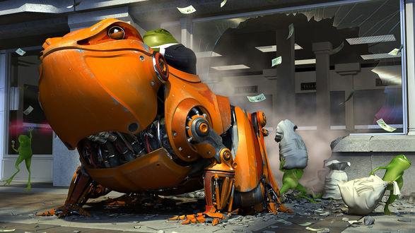 Обои Лягушки грабят банк, босс Жаба на механической лягушке проломил стену, помощники таскают мешки с деньгами