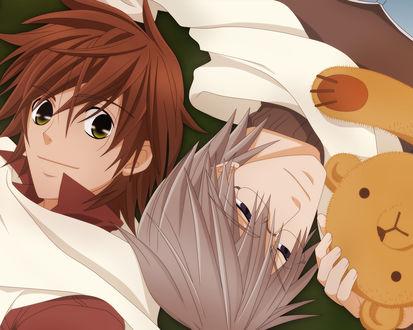 Обои Чистая романтика (Двое мужчин и мишка)