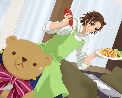 Обои Чистая романтика (Мишка боится еды с кетчупом, которую несет официант в салатовом переднике)
