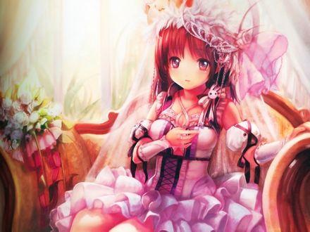 Обои Анимешка в корсете и красивом платье сидит на ампирном кресле рядом с букетом белых тюльпанов
