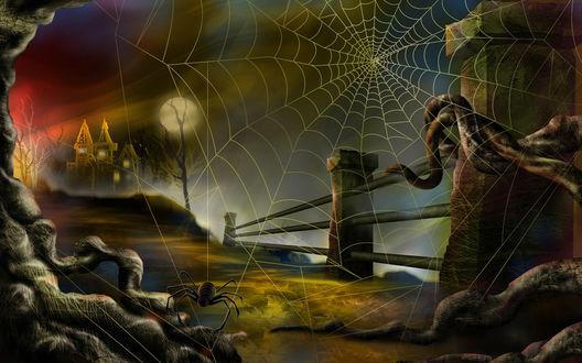 Обои Сквозь паутину виднеется луна и страшный домик