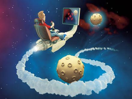 Обои Парень так увлекся космическими играми, что сам попал в космос