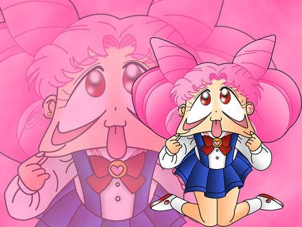 Обои Чиби Уса, девочка с розовыми волосами оттянула нижние веки
