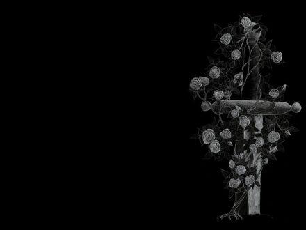Обои Крест с розами