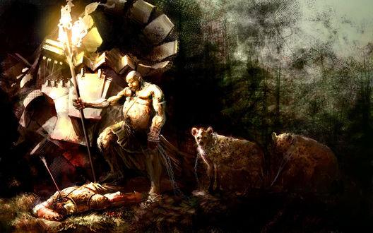 Обои Полный мужчина с факелом и гиенами на поводке над трупом