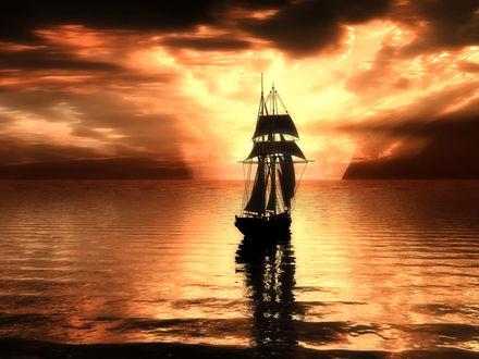 Обои Корабль отправляется в плавание на закате