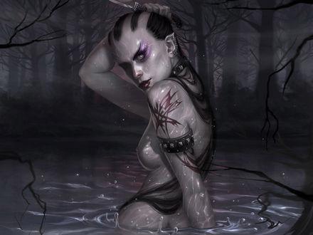 Обои Голая девушка с ножом в пруду