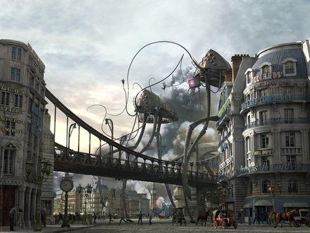 Обои Инопланетные гады с большими щупальцами заявились в город и хватают людишек