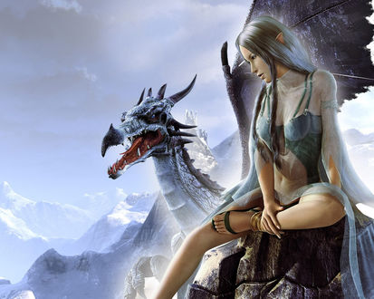 Обои Девушка эльф сидит на скале рядом с пленившим ее драконом из игры SpellForce: The Breath of Winter