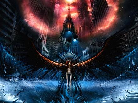 Обои Ангел смерти обрушил кару на город грешников
