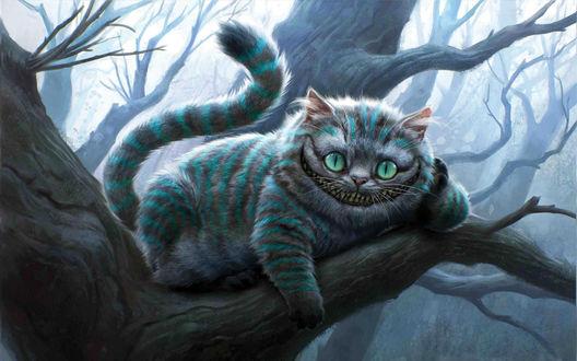Обои Чеширский кот из фильма 'Алиса в стране чудес'