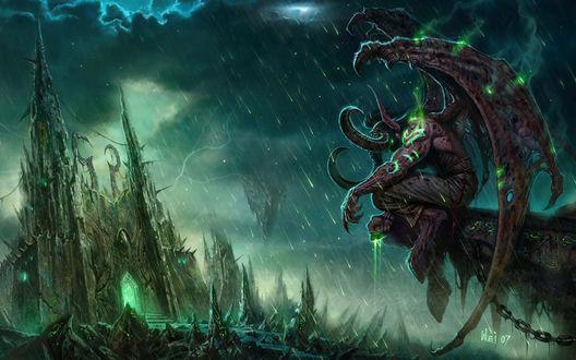 Обои Иллидан Ярость Бури / Illidan Stormrage, арт к игре World of Warcraft / Мир Военного Ремесла
