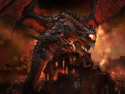 Обои Смертокрыл разрушает город, арт к игре World of Warcraft / Мир Военного Ремесла