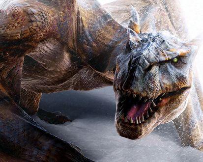 Обои Зеленоглазый динозавр