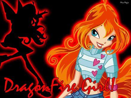 Обои Dragon Fire girl