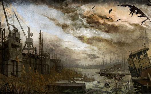 Обои Грязное болото с потопленными яхтами около старого завода